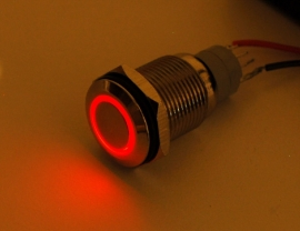 Waterproof Metal On/Off Switch with Red  LED Ring - 16mm