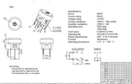 Mini Illuminated Momentary Pushbutton - Blue Power Symbol