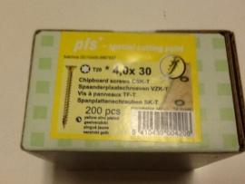 Schroeven 4,0 x 30  geel verzinkt