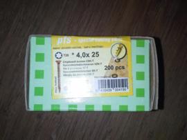 Schroeven 4,0 x 25  geel verzinkt