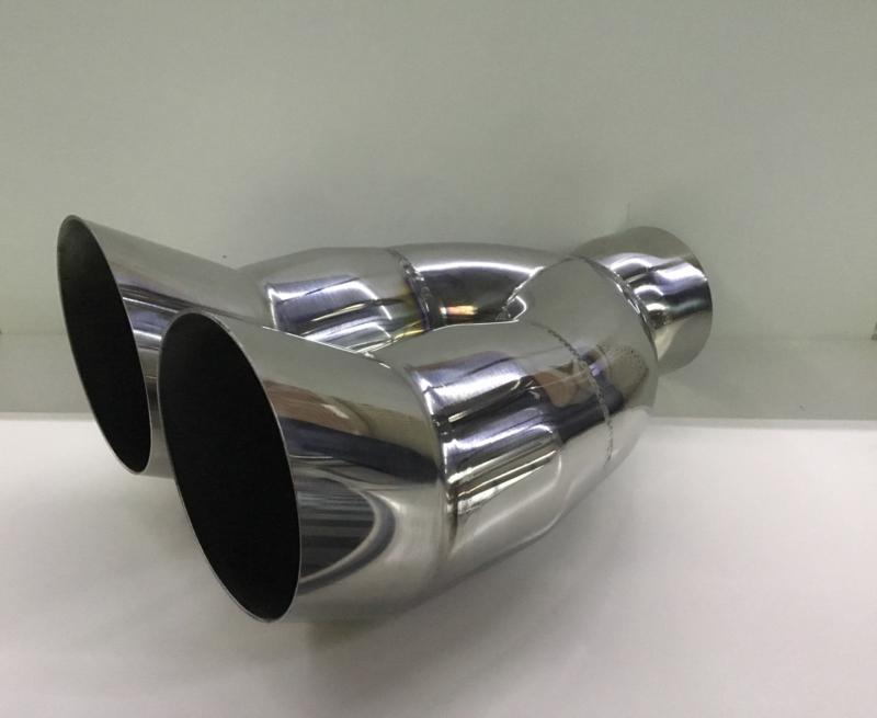 Uitlaat eindsierstuk DTM dubbel 75mm rvs 2 inch