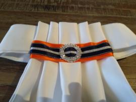 Plastron Harmonica Strap Donkerblauw/Oranje (1)