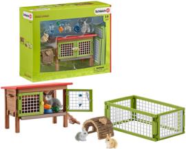 Schleich konijnenhok set
