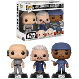 FUNKO POP pack 3 figures Star Wars Lobot Ugnaught and Bespin Guard - Exclusive