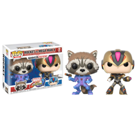 FUNKO POP 2 pack figures Capcom vs Marvel Rocket vs MegaMan X - Exclusive