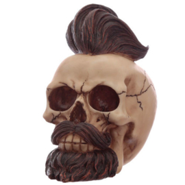 Hipster Mohican Skull Ornament with Beard and Styled Hair figure
