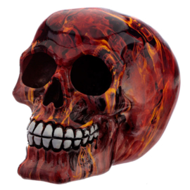 Marble Flame Effect Skull Ornament figure