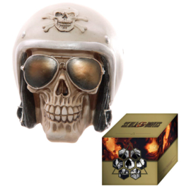 Gruesome Skull with Helmet and Sun Glasses figure