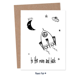 A4 Poster/ kaart Raket - love you to the moon...