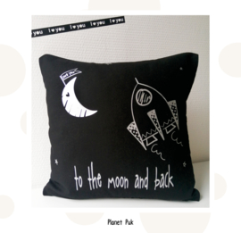 Kussentje Raket - love you to the moon 40 x 40 cm