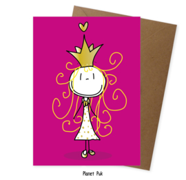 A5 kaart bubblegum roze - Prinses