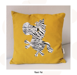 Zebra kussen okergeel - 35 x 35 cm