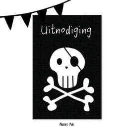 Uitnodiging Piraat/ Skull  - Verjaardag | Kinderfeestje