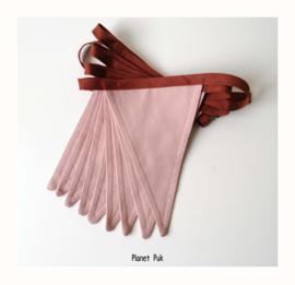 Vlaggenlijn uni roze-bruin,  2.5 mtr.