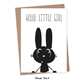 A5 Kaart Konijn - Hello little girl