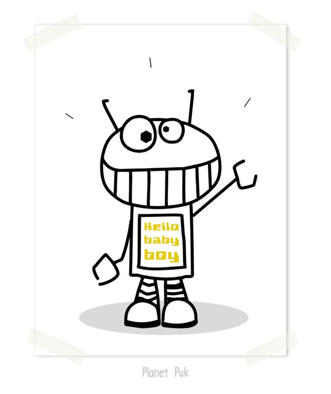 Poster Robot, Hello Baby Boy