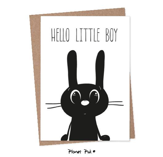 A5 kaart Konijn - Hello little boy