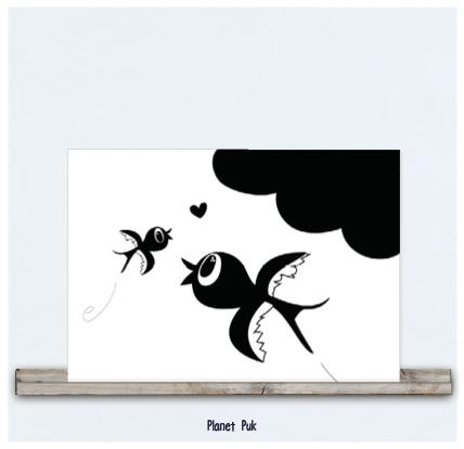 Poster/ kaart 20 x 30cm - Zwaluwtjes