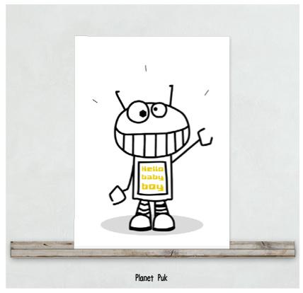 Posterkaart - Hello baby boy