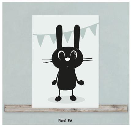 Poster/ kaart konijn 20 x 30 cm - Feest!
