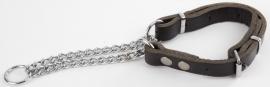 Leren halfcheck halsband M zwart