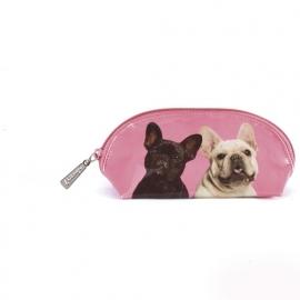 Mr & Mrs Pink Frenchies oval bag (make-up tasje) 9 x 18 cm