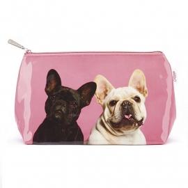 Mr & Mrs Pink Frenchies Wash bag - kleine toilettas 14 x 20  x 7 cm