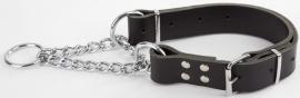 Leren halfcheck halsband XXL zwart (85 cm)