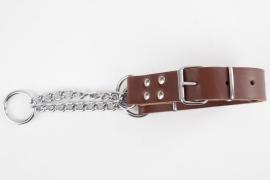 Leren halfcheck halsband XL roodbruin (65 cm)