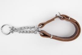 Leren halfcheck halsband M roodbruin
