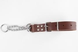 Leren halfcheck halsband L roodbruin
