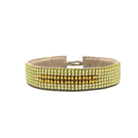 beaded cuff bracelet big stripe yellow