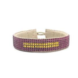 beaded cuff bracelet big stripe pink