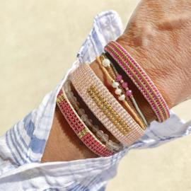 beaded cuff bracelet big stripe natural