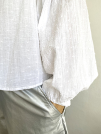 oversized shirt silver line white
