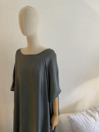 oversize silky dress grey