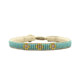 fine beaded bracelet 3 flower turquoise
