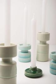 candle holder crackle aqua