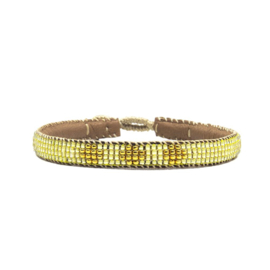 fine beaded bracelet 3 flower yellow