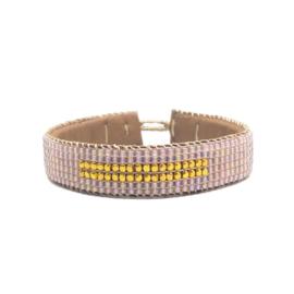 beaded cuff bracelet big stripe nude