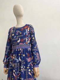 long flower dress blue