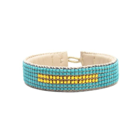 beaded cuff bracelet big stripe turquoise