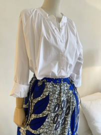 wax skirt white - blue