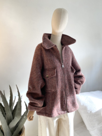 short oversize coat bordeaux