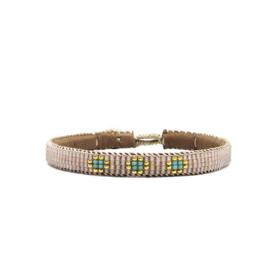 fine beaded bracelet 3 flower nude