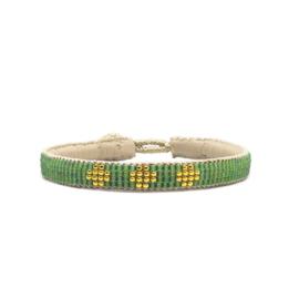 fine beaded bracelet 3 flower green