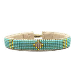 friendship bracelet one flower turquoise