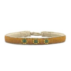 fine beaded bracelet 3 flower orange