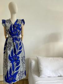 wax wrap dress white-blue