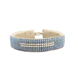 beaded cuff bracelet big stripe blue